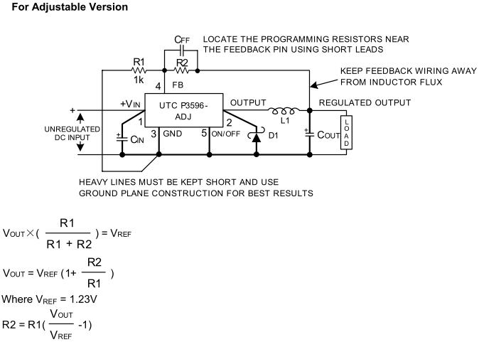 P3596 mit programmierbarer Ausgangsspannung (über R1/R2)