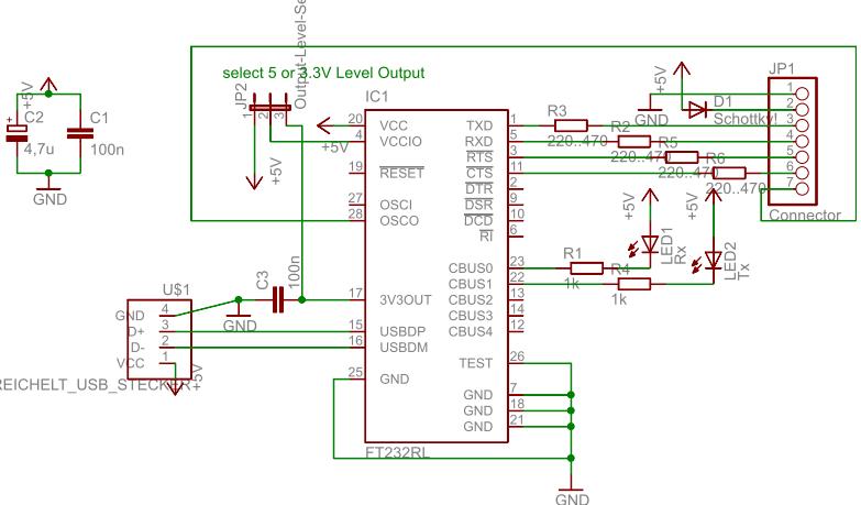 USB-UART-FTDI Schaltplan
