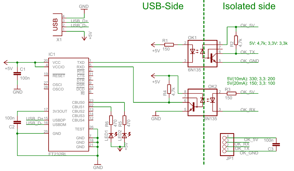 USB UART Optokoppler Schematic
