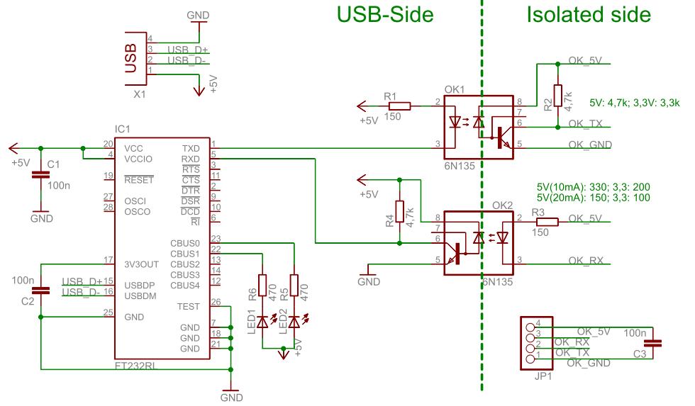 USB UART Optokoppler Schematic