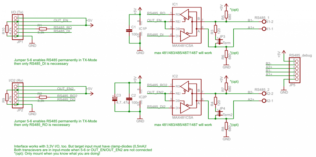 UART over dual RS485 schematic